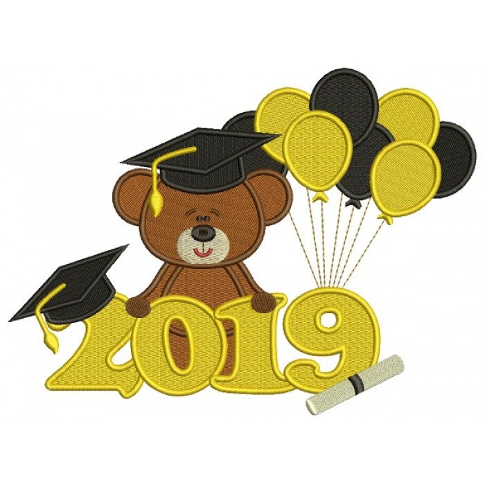 2019 Graduation Bear With Balloons Filled Machine Embroidery Design Digitized Pattern