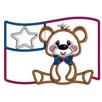 4th Of July Bear With Big American Flag Applique Machine Embroidery Design Digitized Pattern
