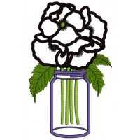 Beautiful Flower Inside The Mason Jar Applique Machine Embroidery Design Digitized Pattern
