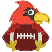 Bird Holding a Football Sports Applique Machine Embroidery Design Digitized Pattern