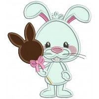 Bunny Holding Chocolate Bunny Candy Applique Easter Machine Embroidery Design Digitized Pattern