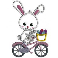 Bunny Riding a Bicycle With Basket Full Of Easter Eggs Applique Machine Embroidery Design Digitized
