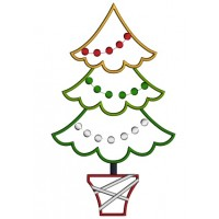 Christmas Tree With Round Lights Applique Machine Embroidery Design Digitized Pattern