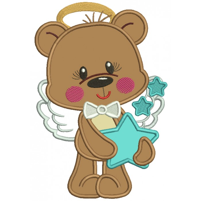 Cute Bear Angel Holding a Star Applique Machine Embroidery Design Digitized Pattern