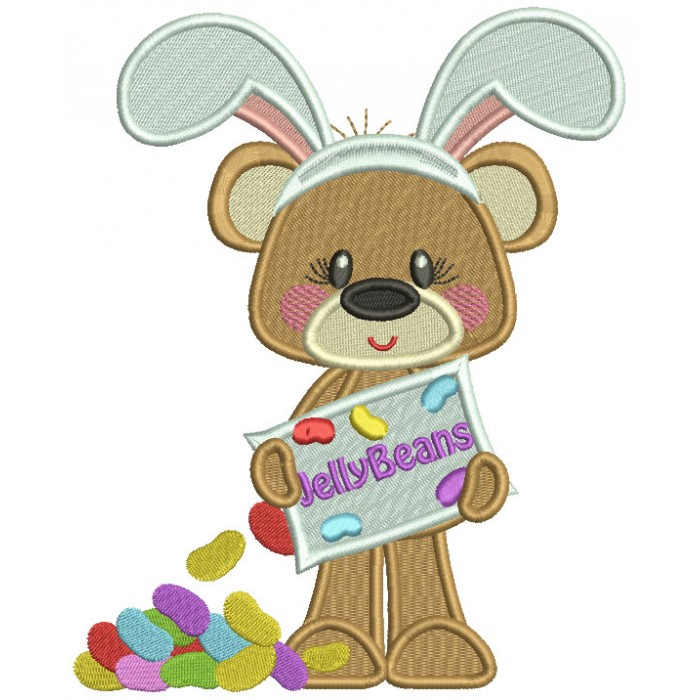 Cute Bear Wearing Bunny Ears With Jelly Beans Filled Easter Machine Embroidery Design Digitized Pattern