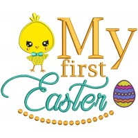 Cute Boy Chick My First Easter Applique Machine Embroidery Design Digitized Pattern