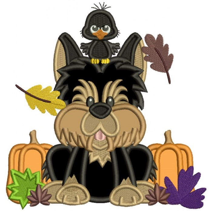 Cute Dog With a Bird Halloween Applique Machine Embroidery Design Digitized Pattern