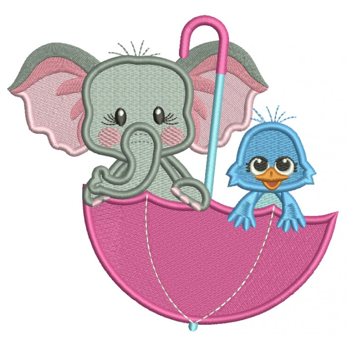 Cute Elephant And Bird Inside Umbrella Filled Machine Embroidery Design Digitized