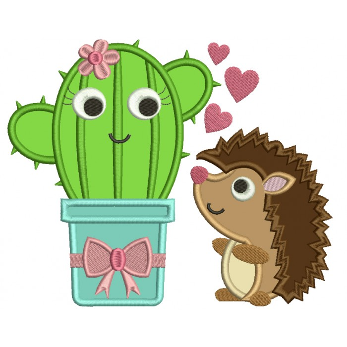 Cute Hedgehog Looking at a Cactus Applique Machine Embroidery Design Digitized Pattern