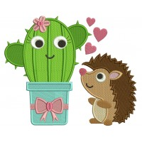 Cute Hedgehog Looking at a Cactus Filled Machine Embroidery Design Digitized Pattern
