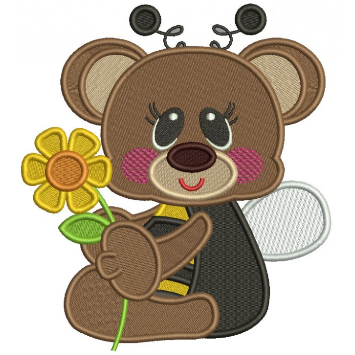 Cute Little Bear Wearing Bumblebee Costume Filled Machine Embroidery Design Digitized Pattern