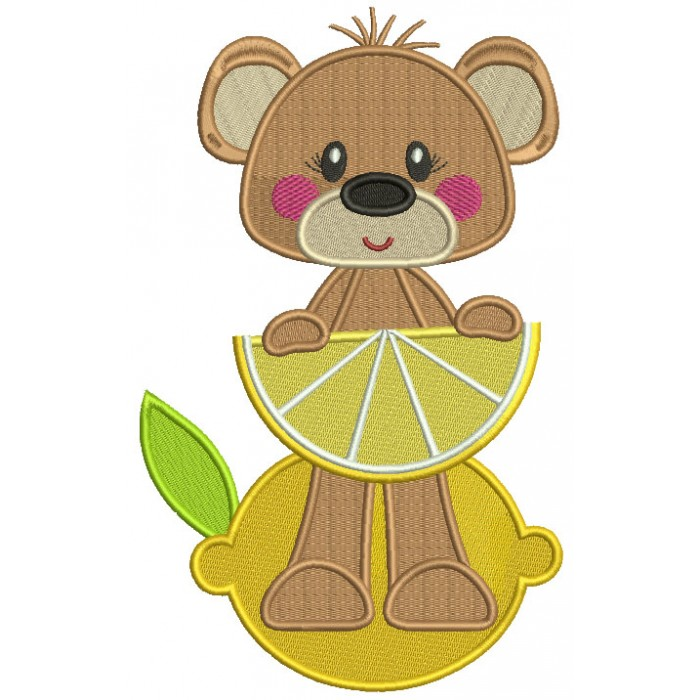 Cute Little Bear Holding Lemon Slice Filled Machine Embroidery Design Digitized Pattern