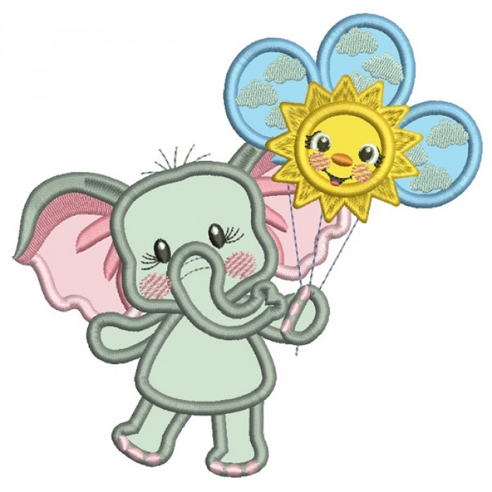 Cute Little Elephant Holding Three Balloons Applique Machine Embroidery Design Digitized