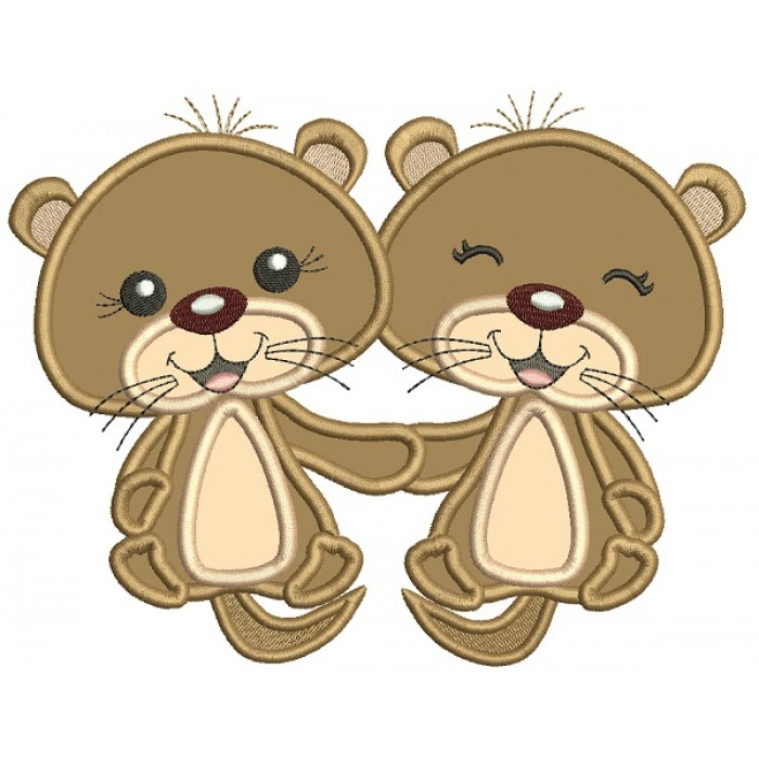Cute Little Otters Holding Hands Applique Machine Embroidery Design Digitized Pattern