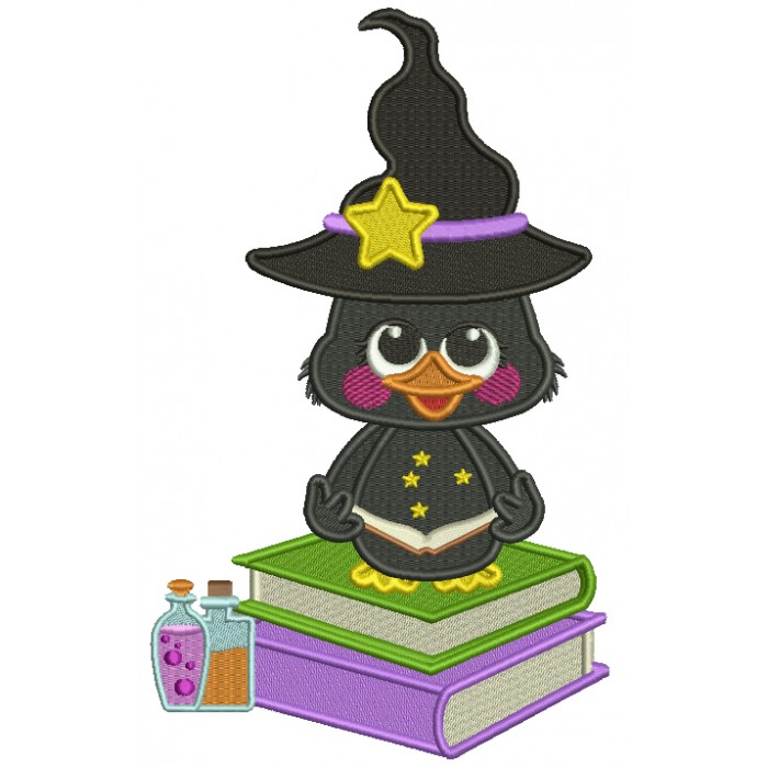 Cute Little Wizard Crow SItting On Potion Books Filled Halloween Machine Embroidery Design Digitized Pattern