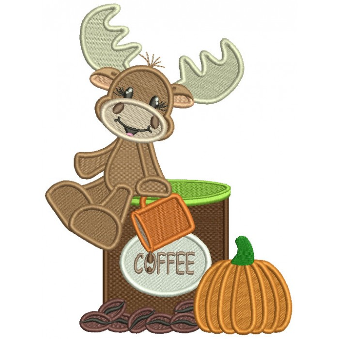 Cute Moose Sitting On a Cup Of Coffee Next To Pumpkin Fall Filled Thanksgiving Machine Embroidery Design Digitized Pattern