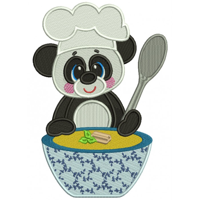 Cute Panda Cooking Soup Filled Machine Embroidery Design Digitized Pattern