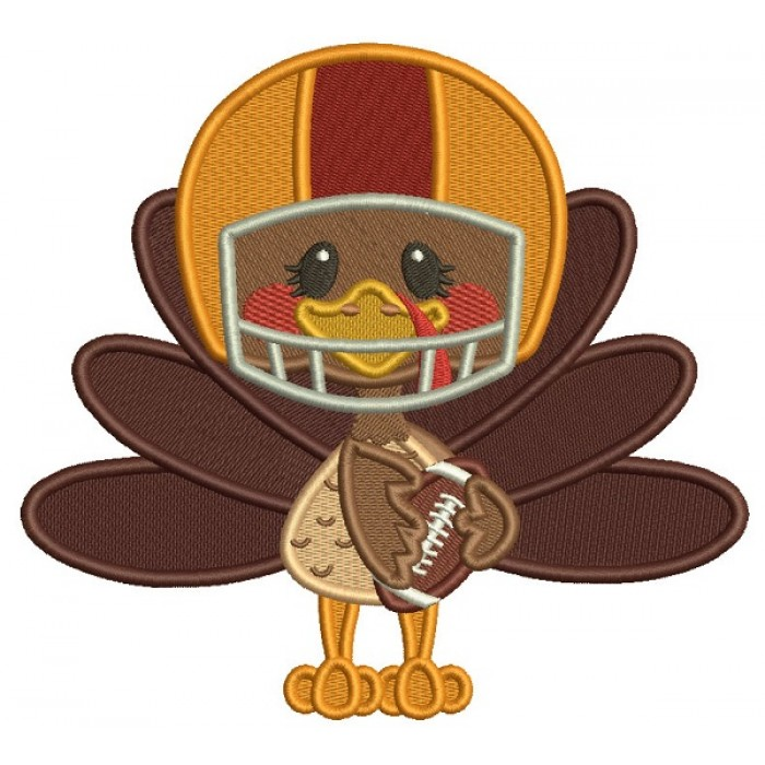 Cute Turkey Wearing Football Helmet Sports Fall Filled Thanksgiving Machine Embroidery Design Digitized Pattern