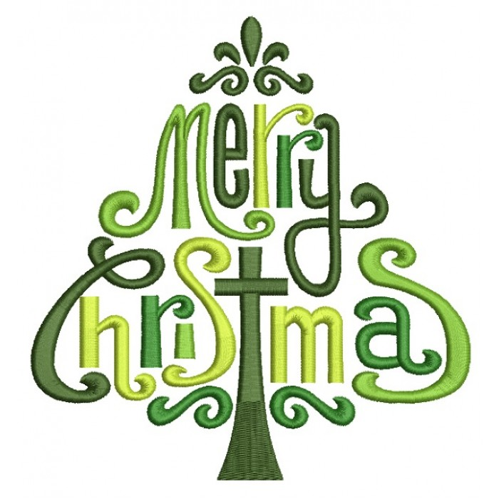 Fancy Merry Christmas Tree With Cross Filled Machine Embroidery Design Digitized Pattern