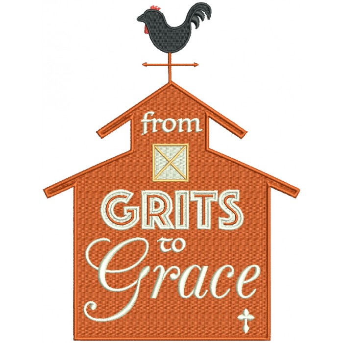 From Grits To Grace Southern Barn Filled Machine Embroidery Design Digitized Pattern