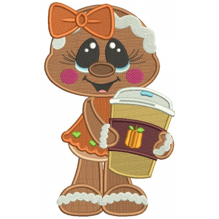 Gingerbread Girl Holding Cup With Apple Cider Fall Thanksgiving Filled Machine Embroidery Design Digitized Pattern
