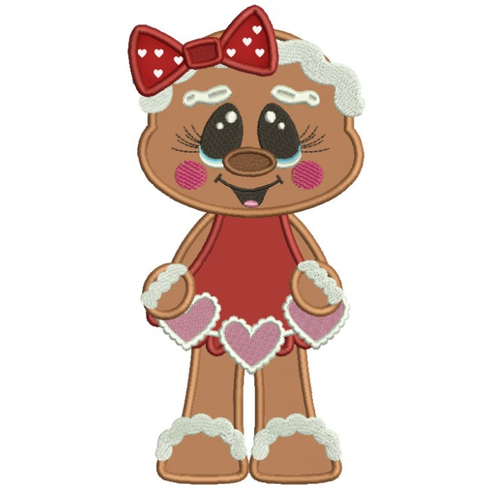 Gingerbread Girl With a Cute Bow Holding Hearts Applique Valentine's Day Machine Embroidery Design Digitized Pattern