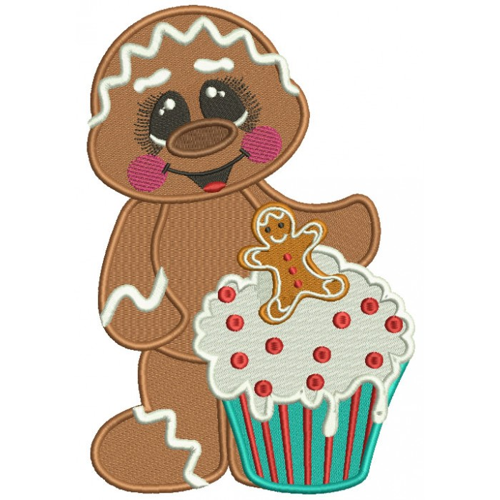 Gingerbread Man Holding a Cupcake Christmas Filled Machine Embroidery Design Digitized Pattern