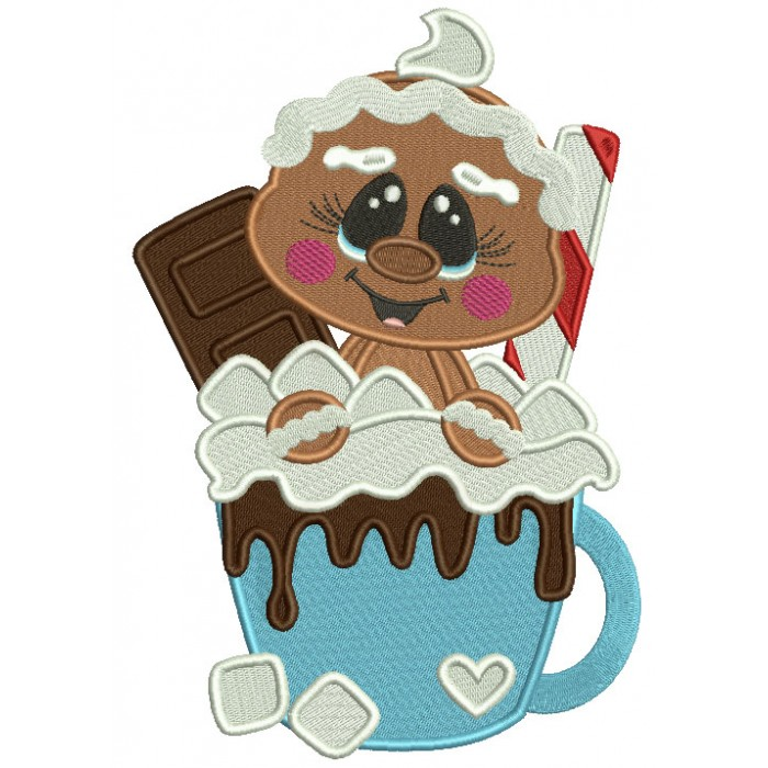 Gingerbread Man Sitting Inside Cocoa Cup Filled Christmas Machine Embroidery Design Digitized Pattern