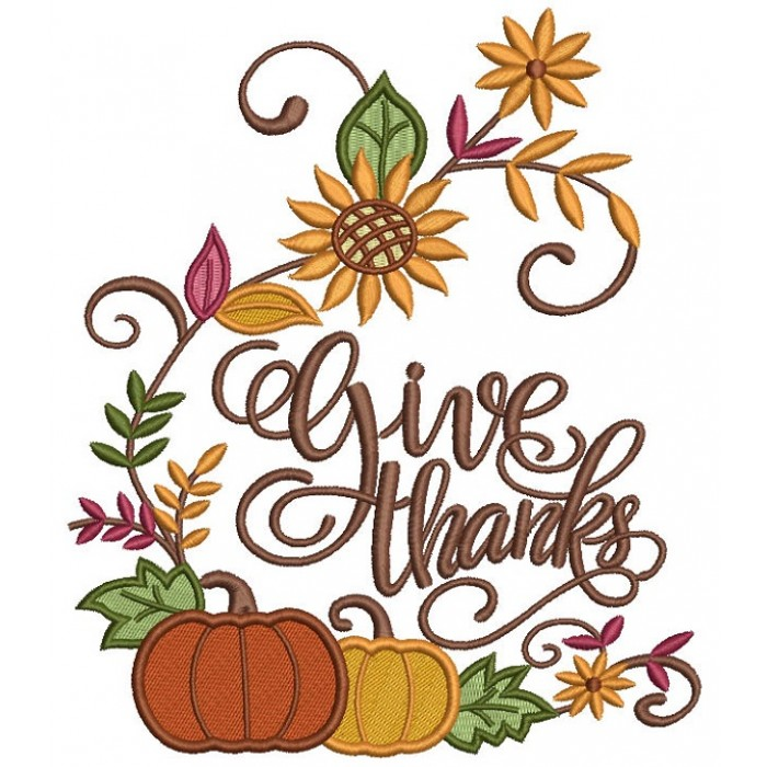 Give Thanks Pumpkin Script Letters Thanksgiving Filled Machine Embroidery Design Digitized Pattern