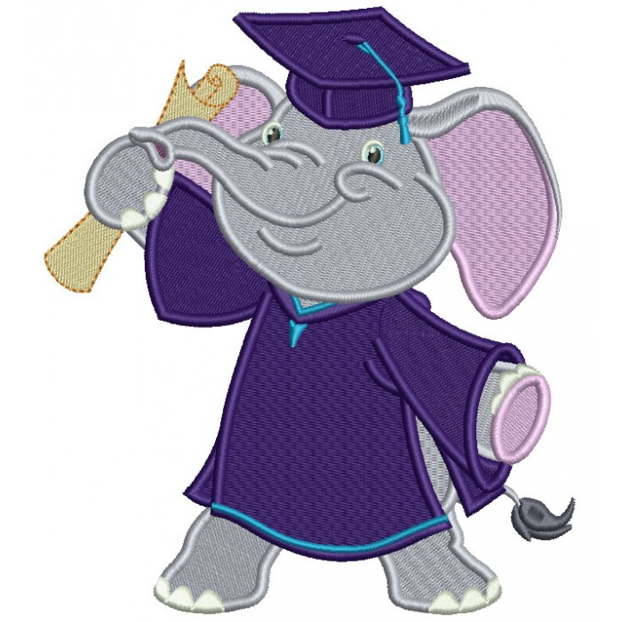 Graduating Elephant Holding Diploma Filled Machine Embroidery Design Digitized Pattern
