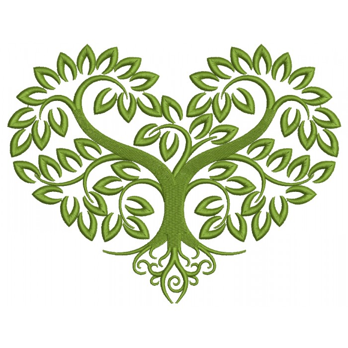 Heart Shaped Tree Filled Machine Embroidery Design Digitized Pattern