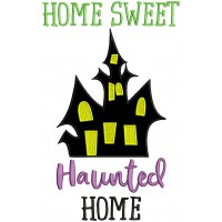 Home Sweet Haunted Home Applique Halloween Machine Embroidery Design Digitized Pattern