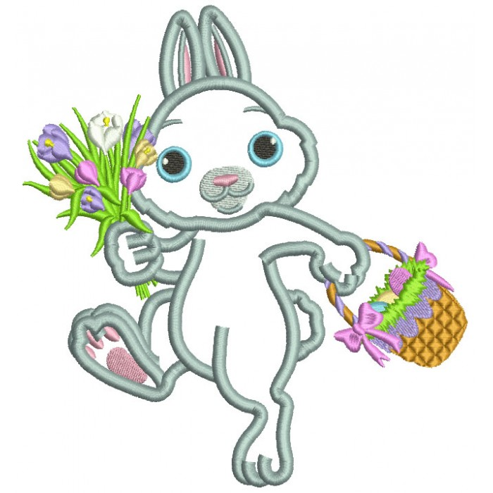 Hopping Bunny With Flowers And Easter Basket Applique Machine Embroidery Design Digitized Pattern