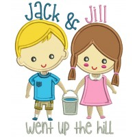 Jack And Jill Wp The Hill Children Rhimes Applique Machine Embroidery Design Digitized Pattern