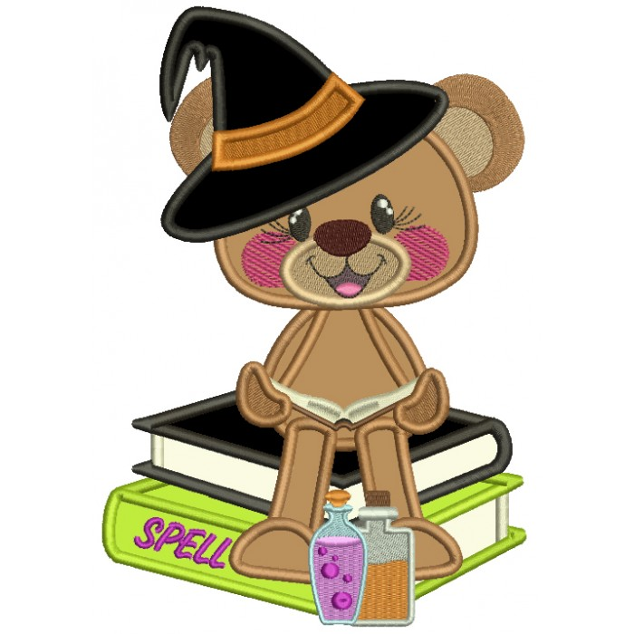 Little Bear Wizard With Spell Books Applique Halloween Machine Embroidery Design Digitized Pattern