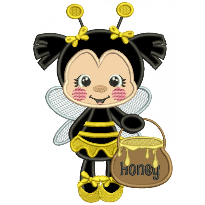 Little Bee Holding a Pot Of Honey Applique Machine Embroidery Design Digitized Pattern