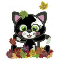 Little Black Kitten Playing With Leaves Fall Applique Thanksgiving Machine Embroidery Design Digitized Pattern
