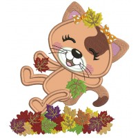 Little Cat Enjoying Falling Leaves Fall Applique Thanksgiving Machine Embroidery Design Digitized Pattern