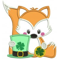 Little Fox Holding a Hat With Shamrock Applique St. Patrick's Day Machine Embroidery Design Digitized Pattern