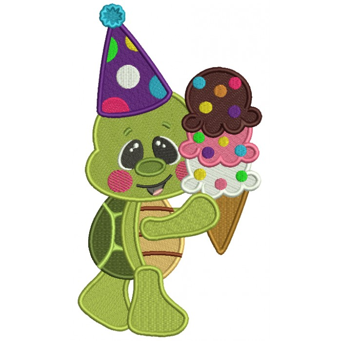 Little Turtle Holding Ice Cream Cone And Wearing Birthday Hat Filled Machine Embroidery Design Digitized Pattern