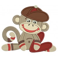 Looks like Sock Monkey Little Boy Applique Machine Embroidery Design Digitized Pattern