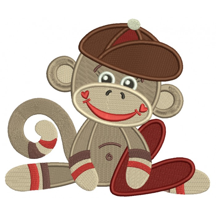 Looks like Sock Monkey Little Boy Filled Machine Embroidery Design Digitized Pattern