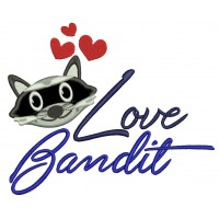 Love Bandit Raccoon With Hearts Love Applique Machine Embroidery Design Digitized Pattern