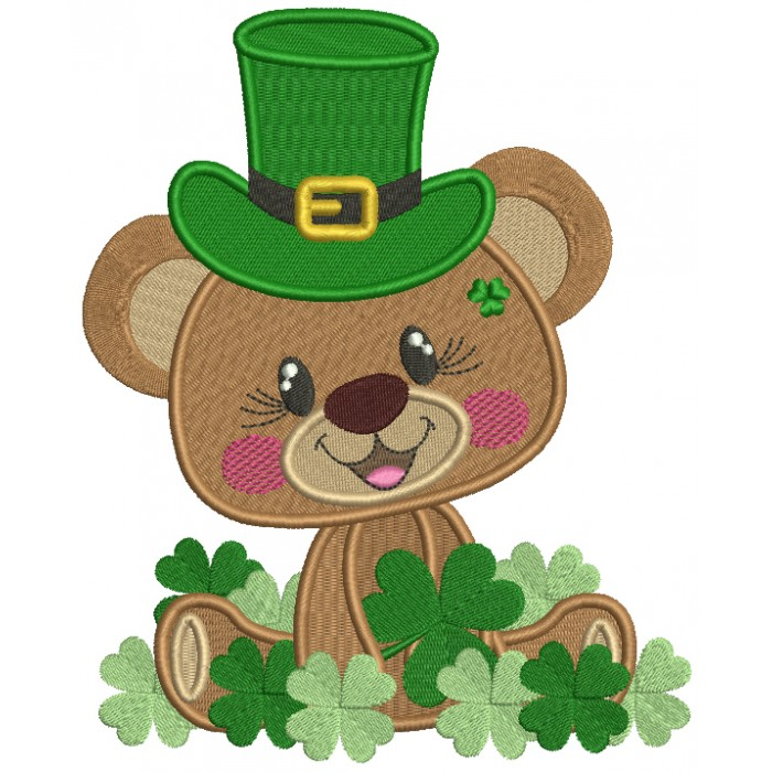 Lucky Bear With Shamrocks St. Patrick's Filled Machine Embroidery Design Digitized Pattern