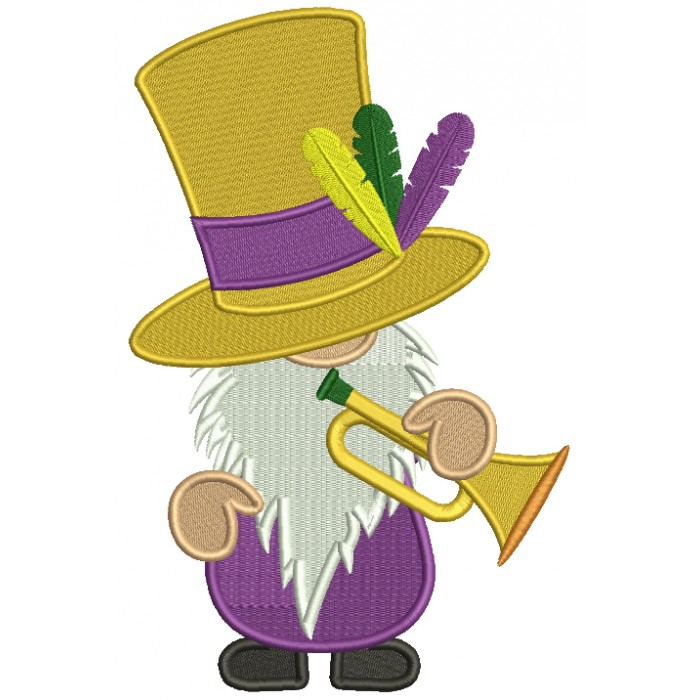 Mardi Gras Gnome With a Trumpet Filled Machine Embroidery Design Digitized Pattern