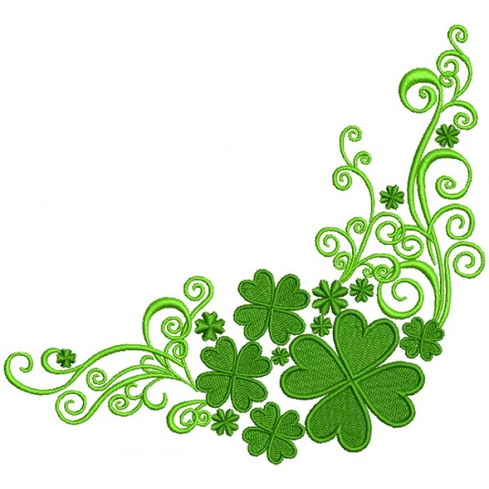 Ornamental Shamrock Border St. Patrick's Day Filled Machine Embroidery Design Digitized Pattern