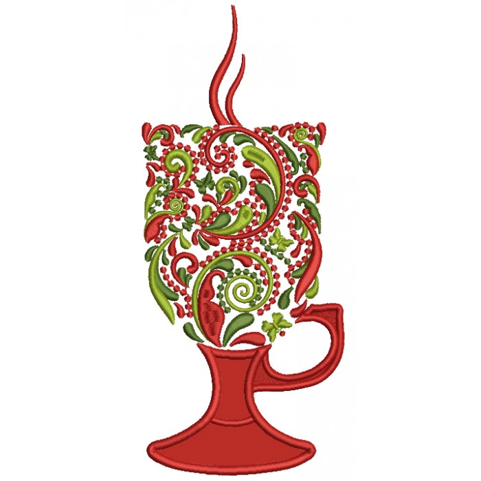 Ornate Christmas Hot Chocolate Glass Applique Machine Embroidery Design Digitized Pattern