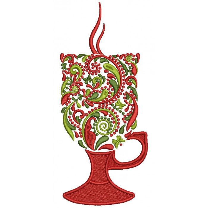 Ornate Christmas Hot Chocolate Glass Filled Machine Embroidery Design Digitized Pattern