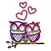 Owl Family Sitting on a Tree Branch With Hearts Applique Machine Embroidery Design Digitized Pattern