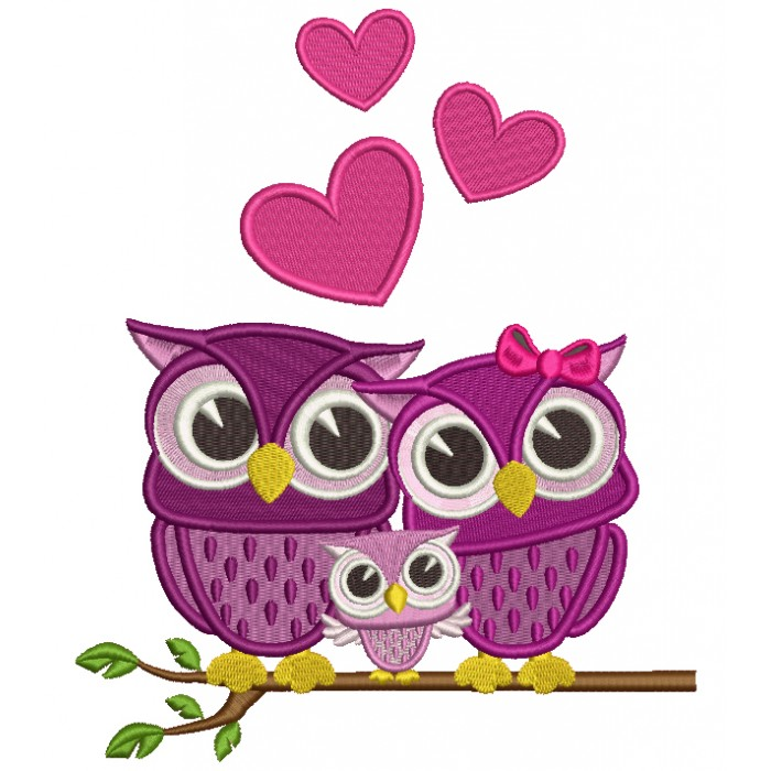 Owl Family Sitting on a Tree Branch With Hearts Filled Machine Embroidery Design Digitized Pattern